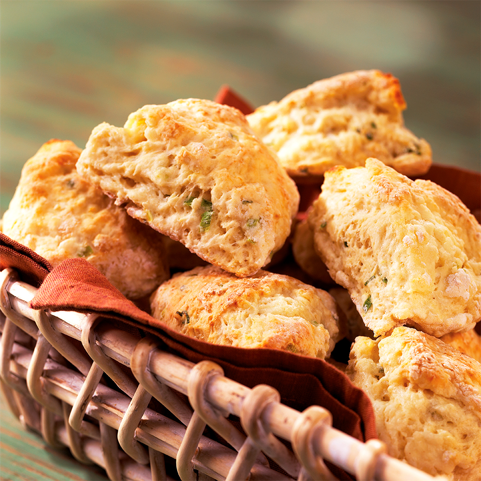 These savory scones are flavored with a delightful combination of scallions and goat cheese. Serve them warm with fresh butter at your next brunch. Source: Diabetic Living Magazine