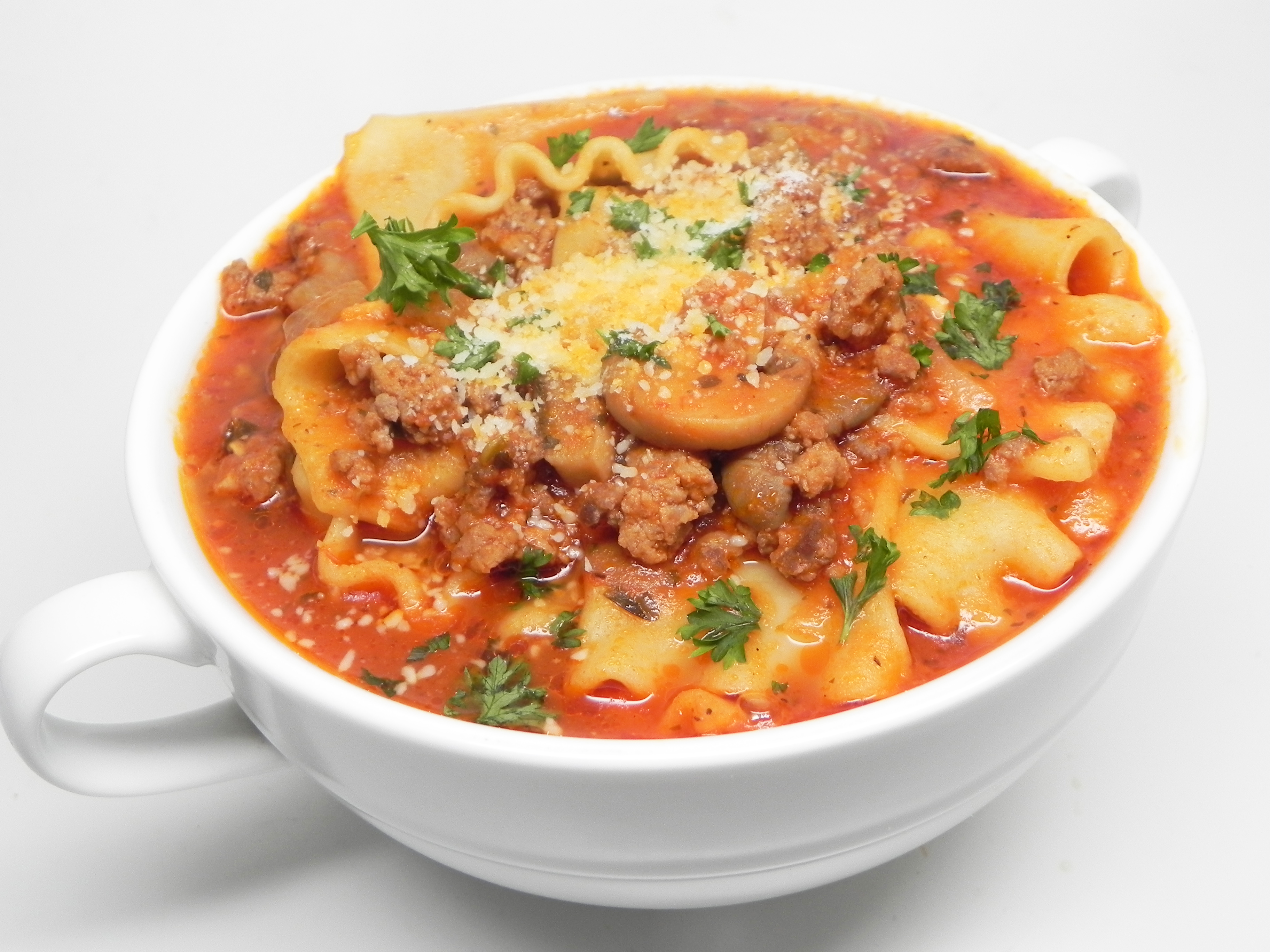 """""""This soup has all of the flavors of lasagna without all of the hours in the kitchen,"""" says Bren. """"I've made it with fairly simple ingredients but feel free to add ground fennel seeds or herbs."""""""