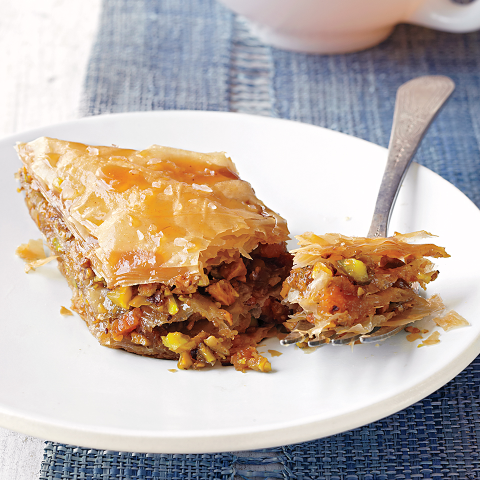 This sweet dessert pastry is made with thin, flaky, buttery layers of phyllo dough and filled with sweet apricots, lightly salted pistachio nuts, and a bit of brown sugar. An apricot caramel sauce is drizzled over the cooled baklava and the entire dessert is sprinkled with coarse salt, providing a sweet and salty bang with each bite. Source: Diabetic Living Magazine