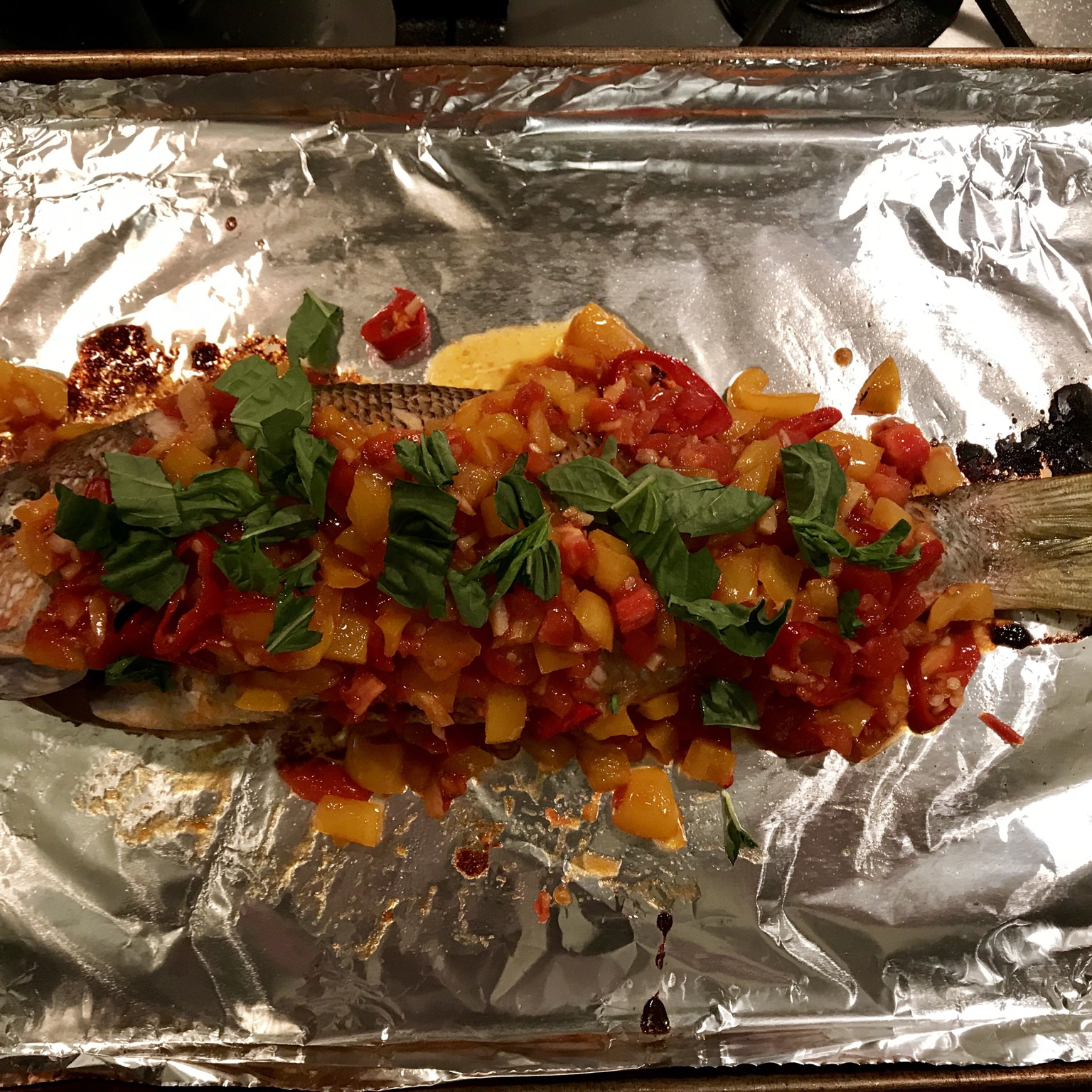 Baked Snapper with Chilies, Ginger and Basil Scooter