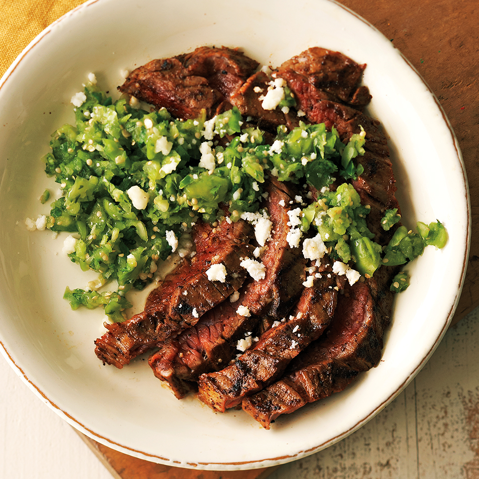 Southwest Flank Steak with Fresh Tomatillo Salsa Diabetic Living Magazine