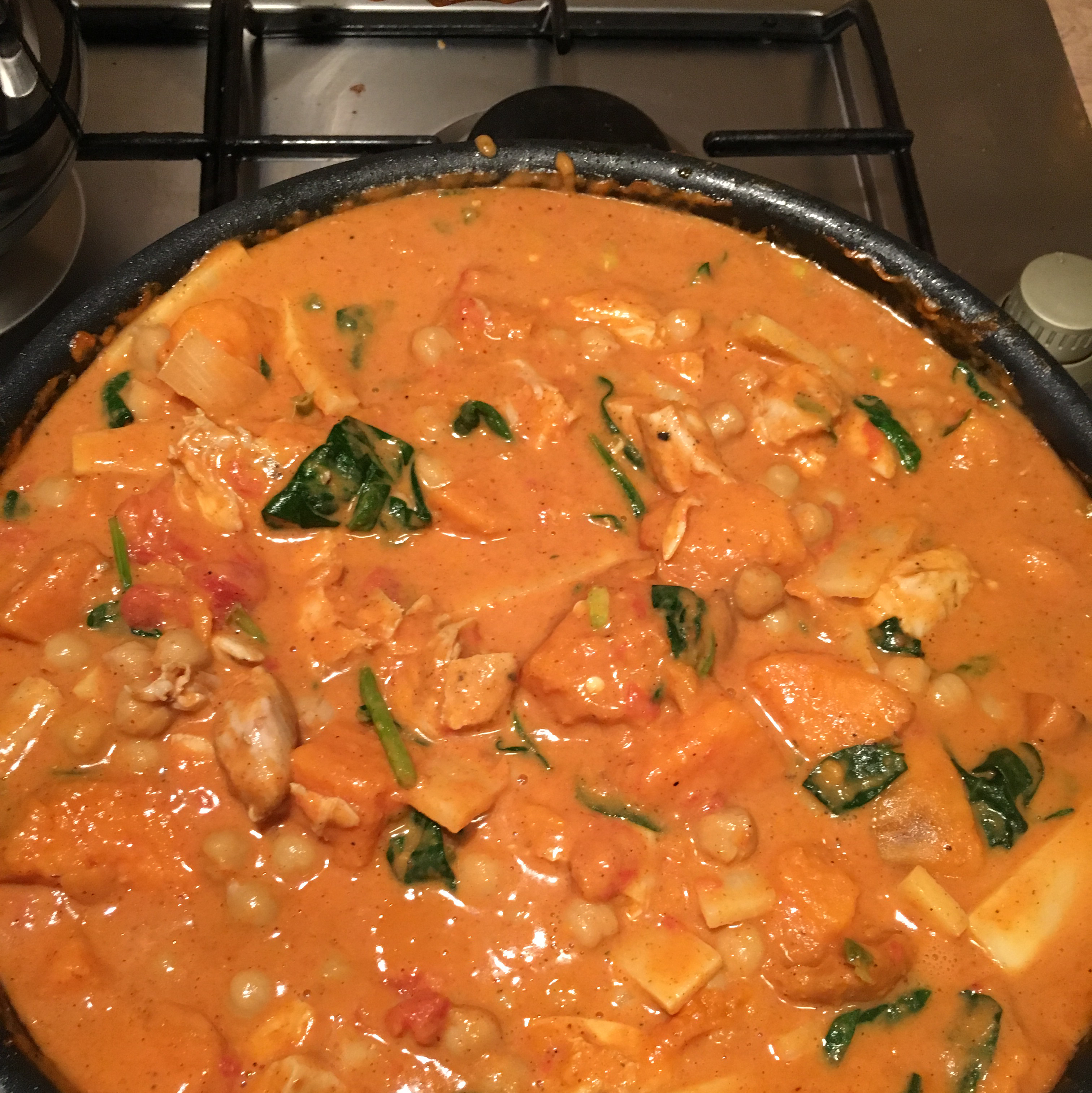 Sweet Potato, Spinach, and Halloumi Curry