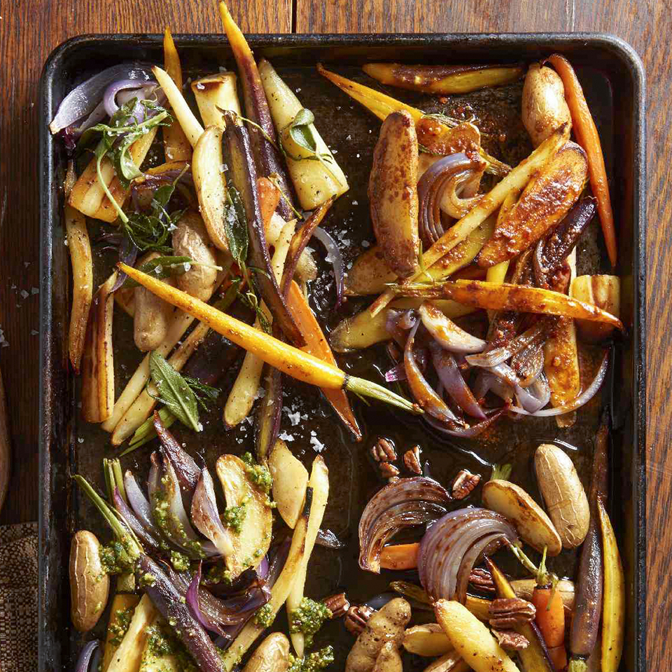 There's nothing easier—or tastier!—than a pan of roasted root vegetables. Clean them, trim them, and season them with olive oil, salt, and pepper, and let them roast to perfection in the oven while you focus on the rest of your meal.