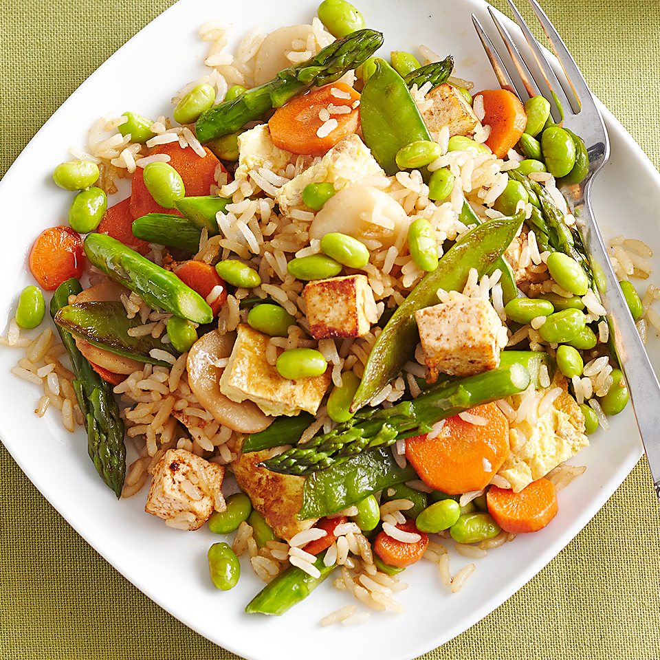 This homemade Asian-inspired fried rice recipe with fresh, crisp-tender vegetables is a vegetarian crowd-pleaser. Source: Diabetic Living Magazine
