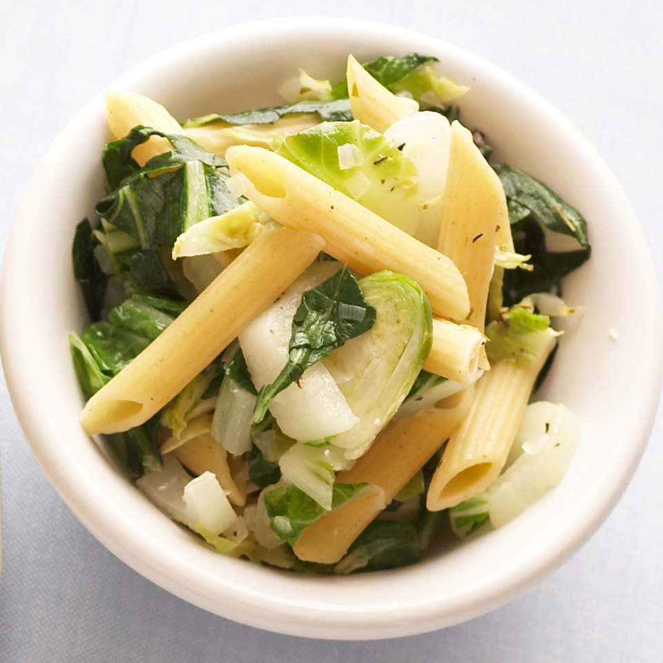 Penne with Brussels Sprouts & Bok Choy Diabetic Living Magazine