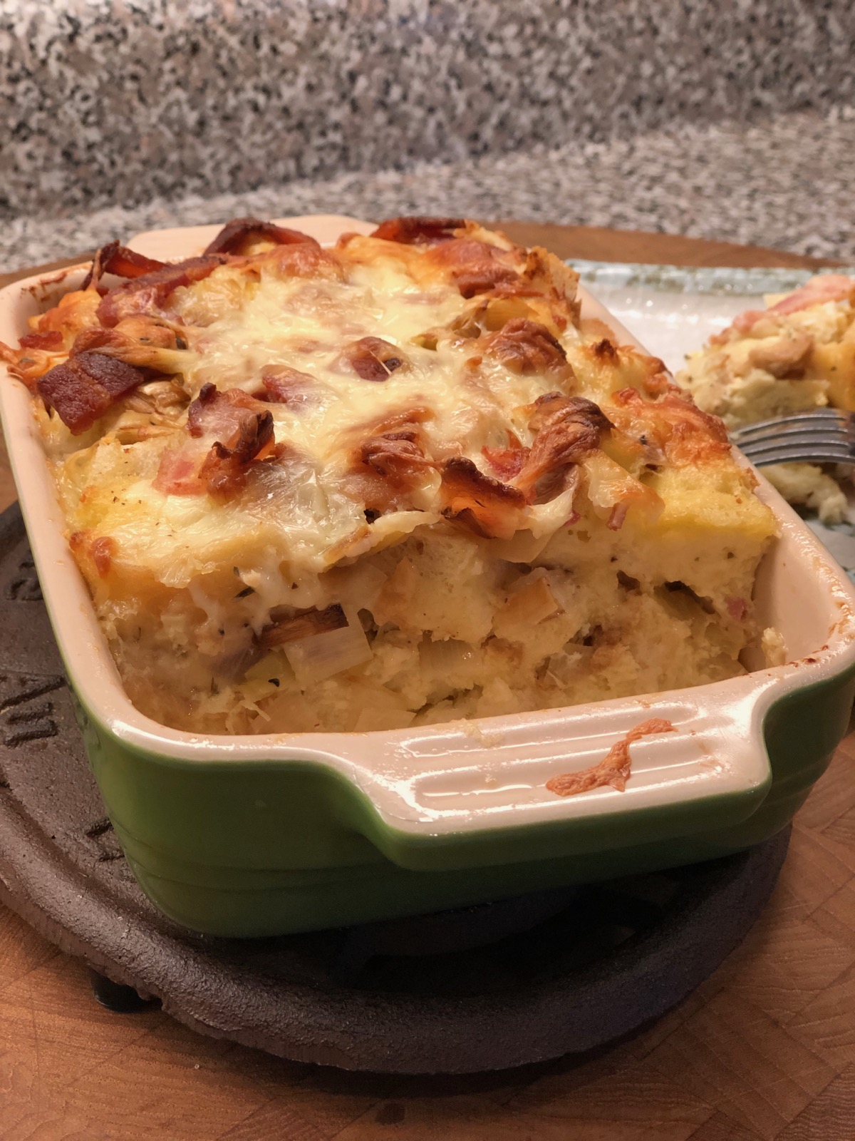 Savory Leek and Bacon Bread Pudding