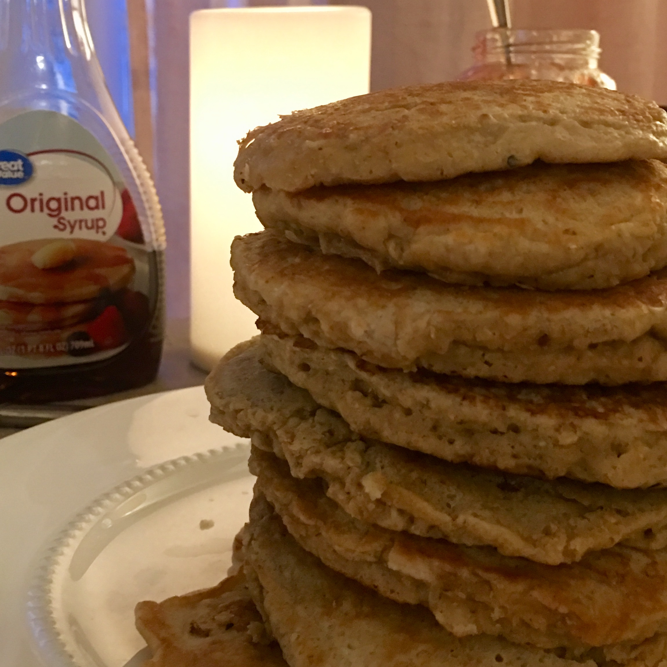 Peanut Butter and Jelly Oatmeal Pancakes