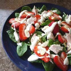 Chicken Strawberry Spinach Salad with Ginger-Lime Dressing