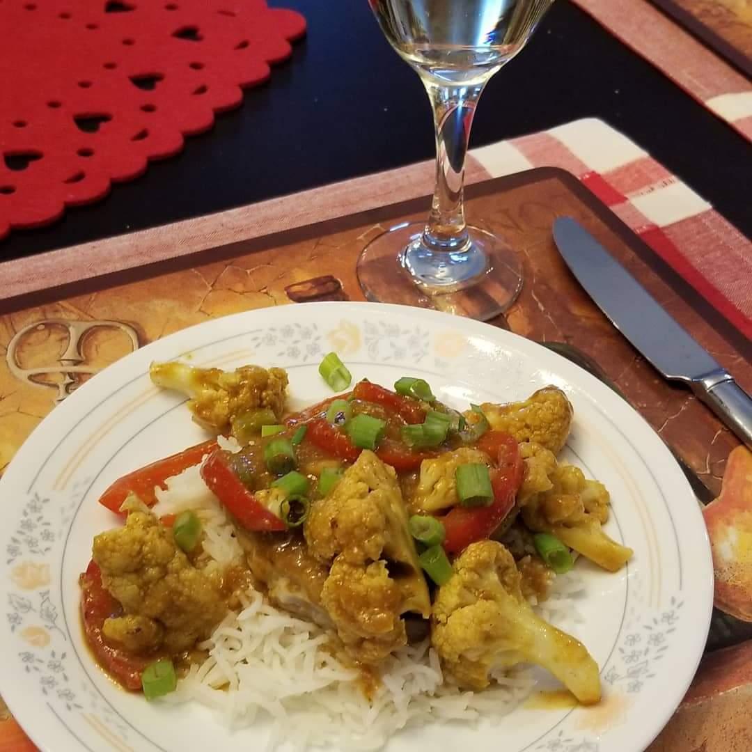 Curried Pork Chops and Cauliflower with Basmati Rice NB Roy