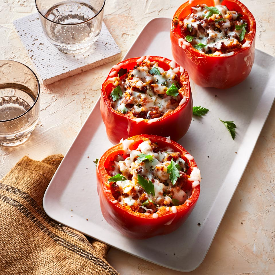Stuffed peppers are a classic family meal—and they're fun to eat, too. Instead of roasting the sweet peppers in the oven, use an air fryer to get them crisp-tender but not soggy.