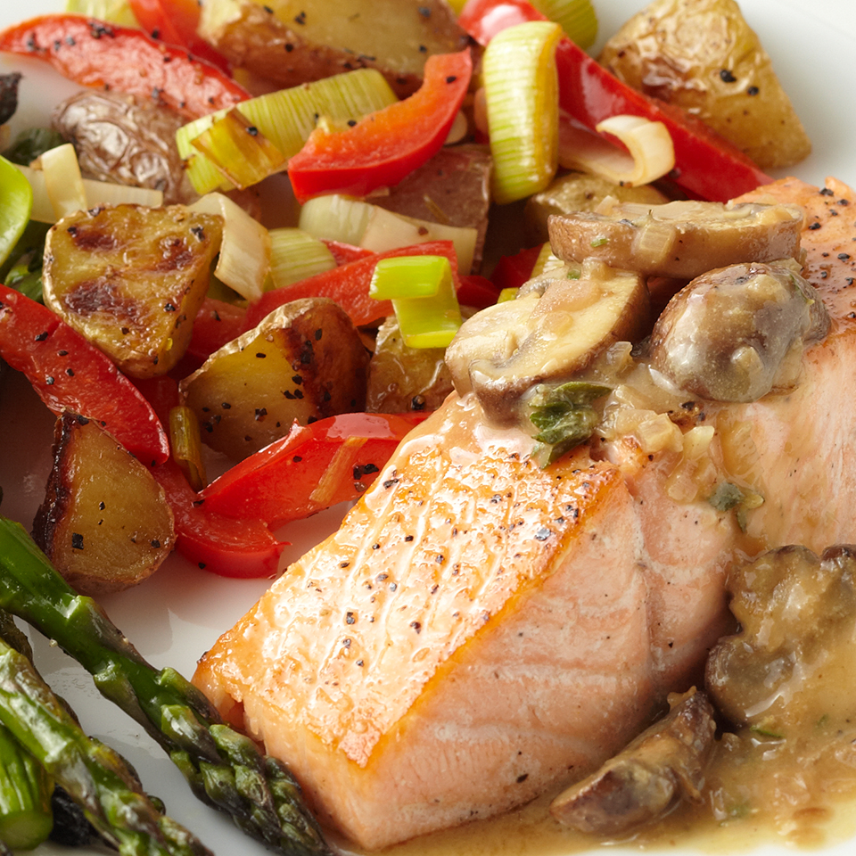 Seared Salmon with Mushroom-Shallot Sauce Diabetic Living Magazine