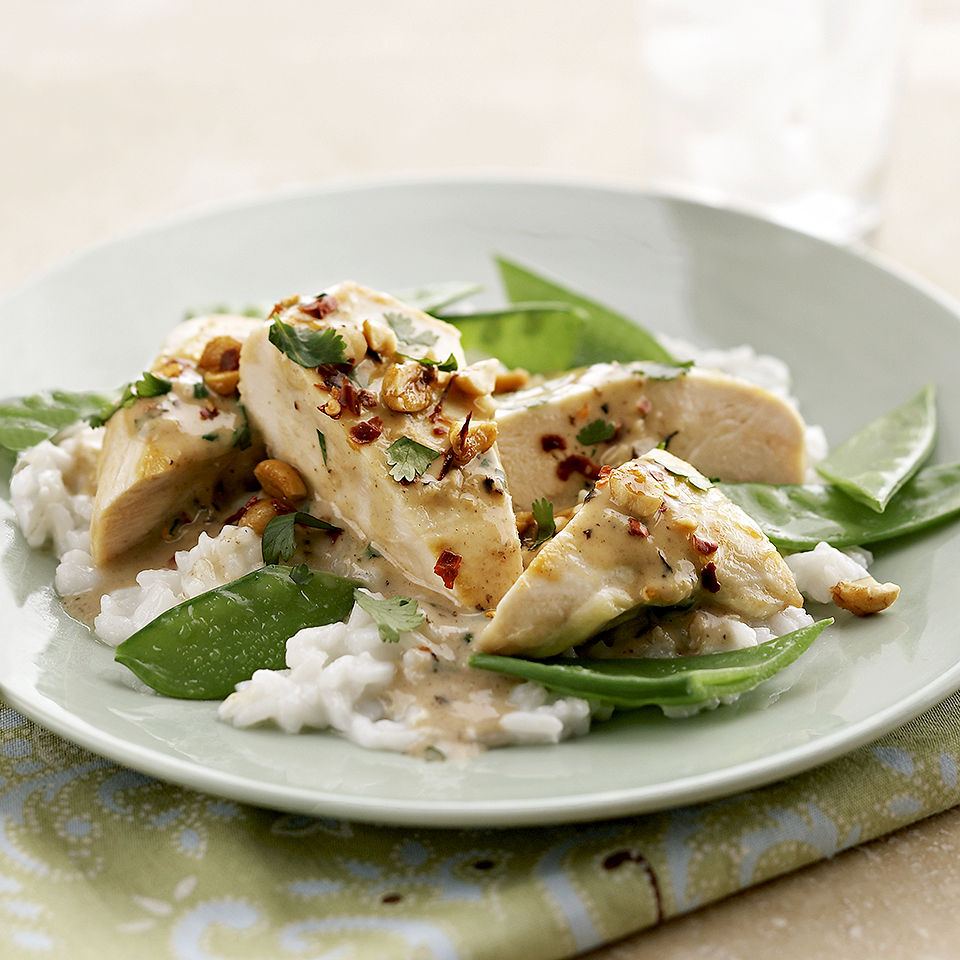 A 20-minute entree that's sure to please picky eaters at your table, this Asian-inspired Thai chicken recipe is a great choice for last-minute dinners. If you have a little extra time, pair it with flavored rice and crisp-tender pea pods (see associated recipe) for a complete meal. Source: Diabetic Living Magazine
