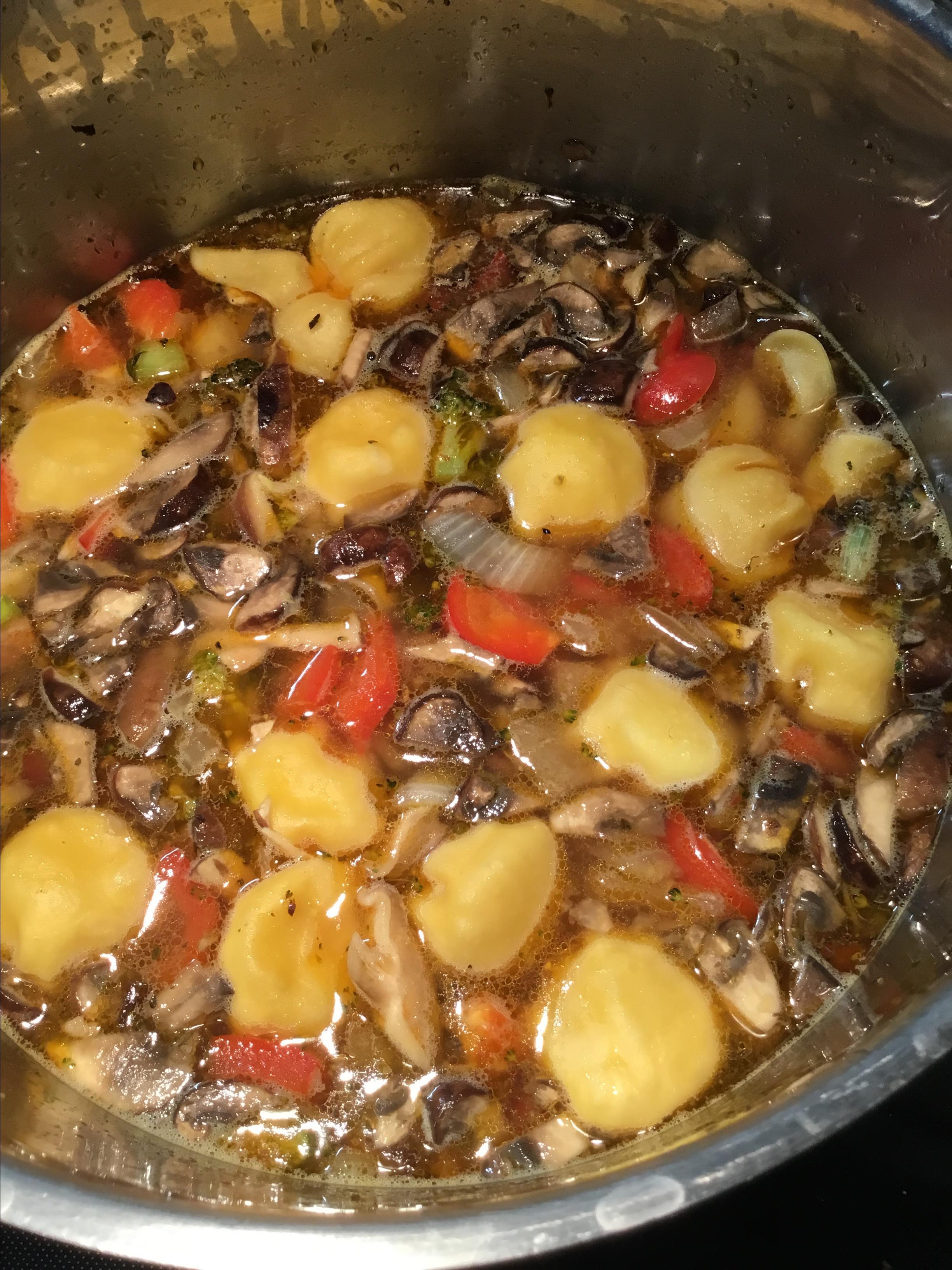 Mushroom, Leek, Chicken Sausage and Tortellini Soup Dee Przybylski