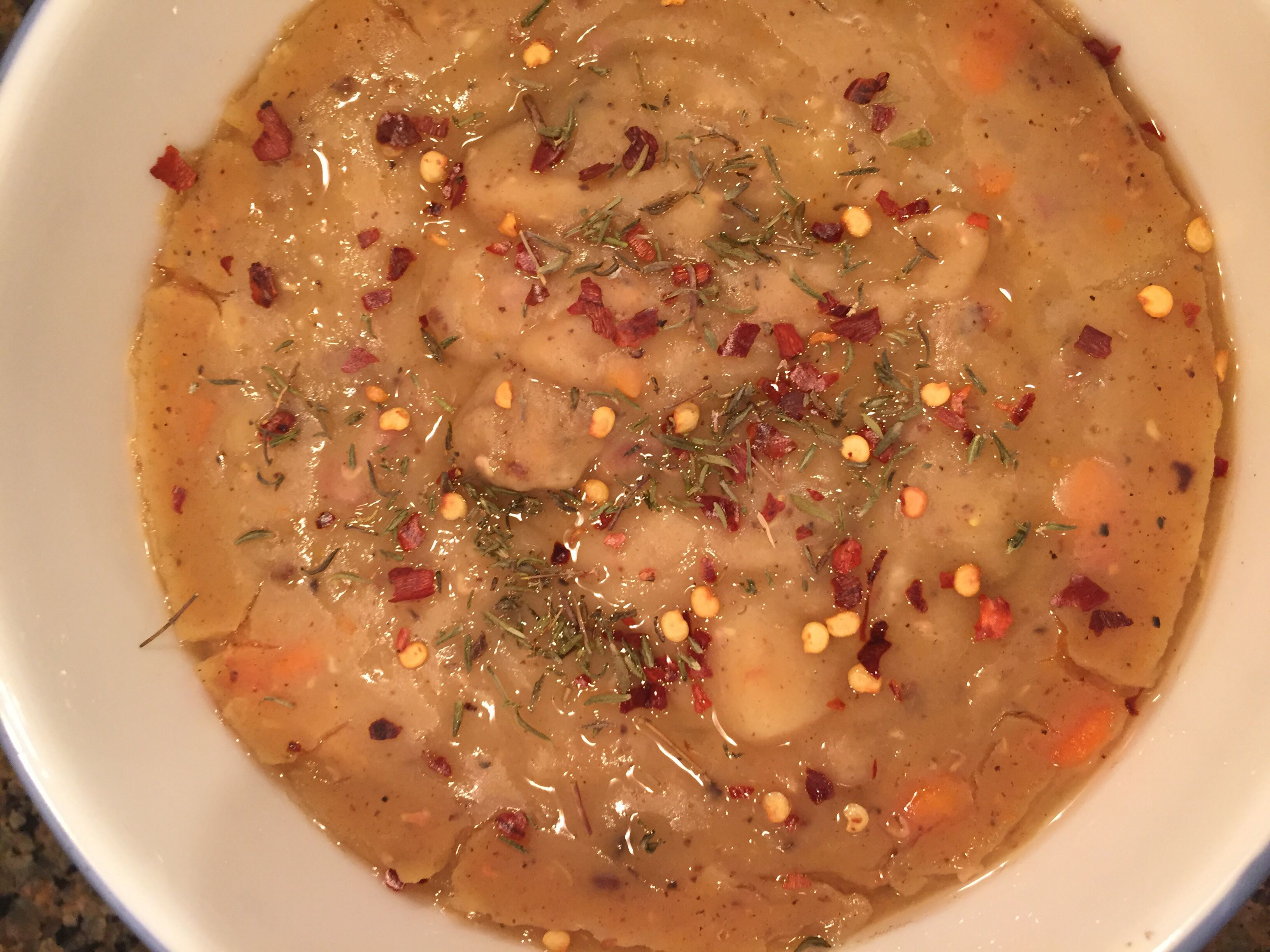 Red Lentil and Yellow Split Pea Soup Made with a Pressure Cooker Kat