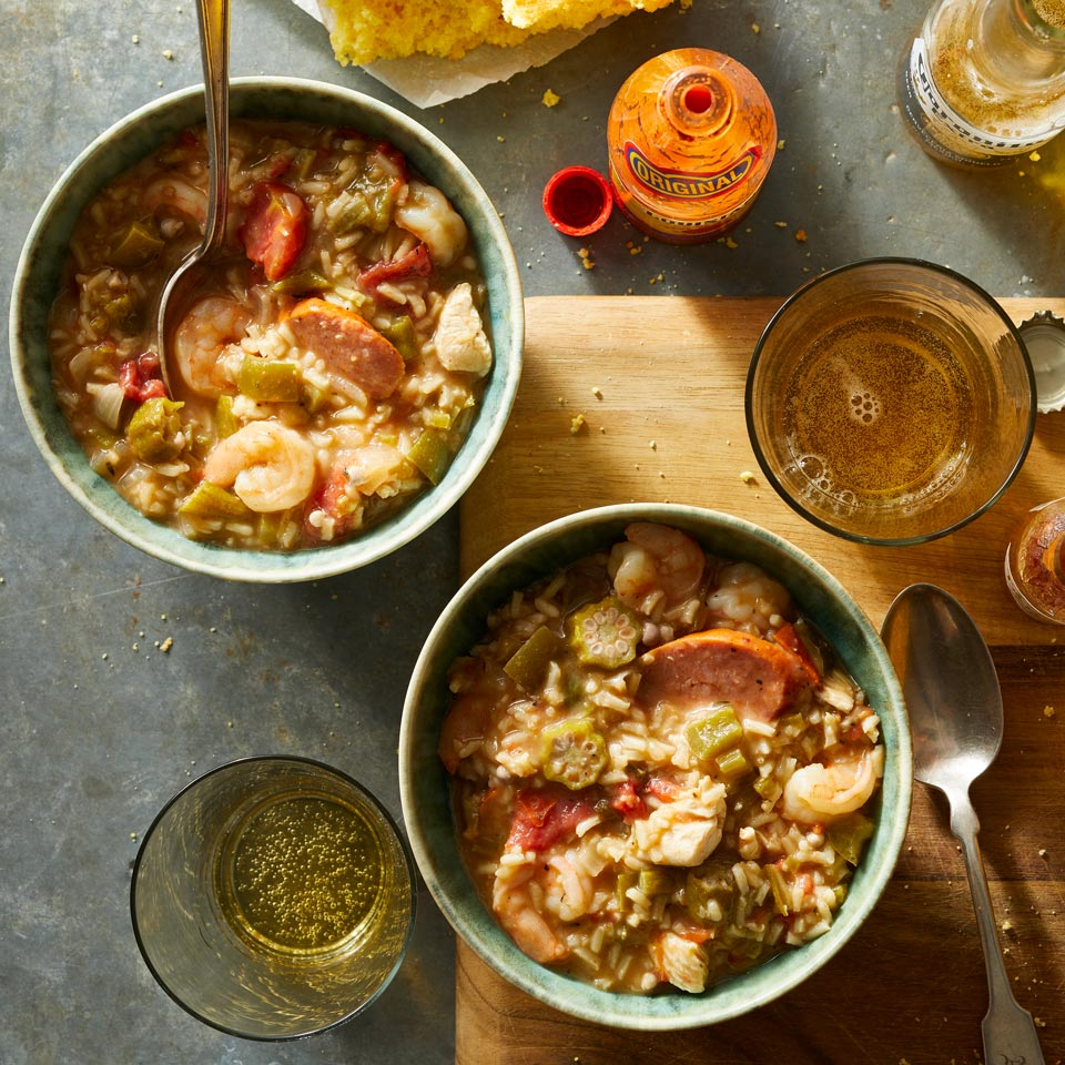 Chock-full of shrimp, chicken, sausage, okra and tomatoes, this flavorful stew is a staple in Louisiana. Make it a meal and serve with cornbread.