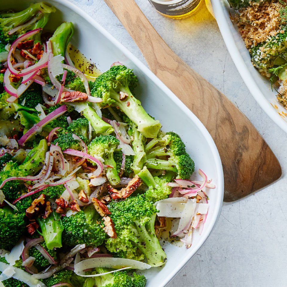 Parmesan, red onions and pecans contribute flavor and texture to this quick and easy broccoli salad that makes a great easy side dish for almost any protein. If you have leftovers, toss them with pasta for lunch the following day. Source: EatingWell Magazine, March 2019