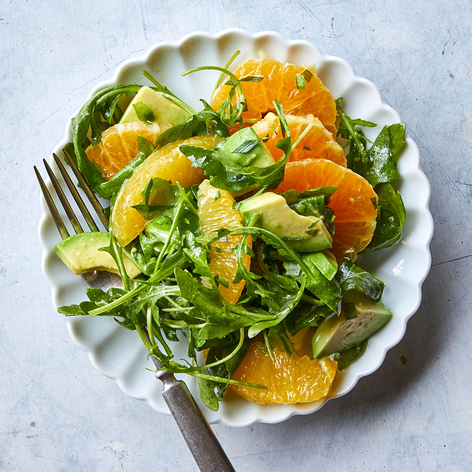 This easy salad recipe makes a stunning side dish for anything you've got cooking for dinner. The bright flavor of the citrus pairs perfectly with peppery arugula and avocado, plus a bit of jalapeño for a slight kick. Source: EatingWell Magazine, March 2019