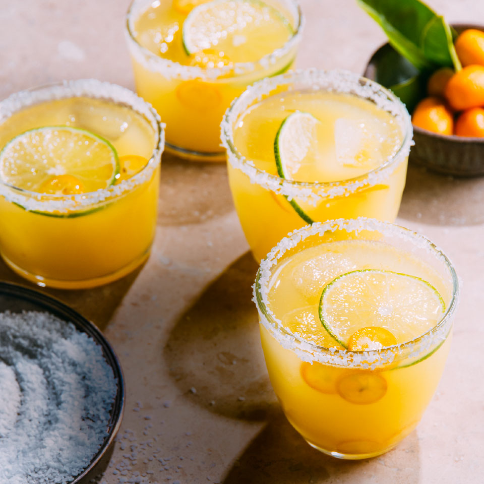 Kumquats are bite-size citrus fruit that you can eat whole, including the skins and seeds. Find them in season November through March for a great sweet addition to your traditional margarita recipe. Source: EatingWell Magazine, March 2019