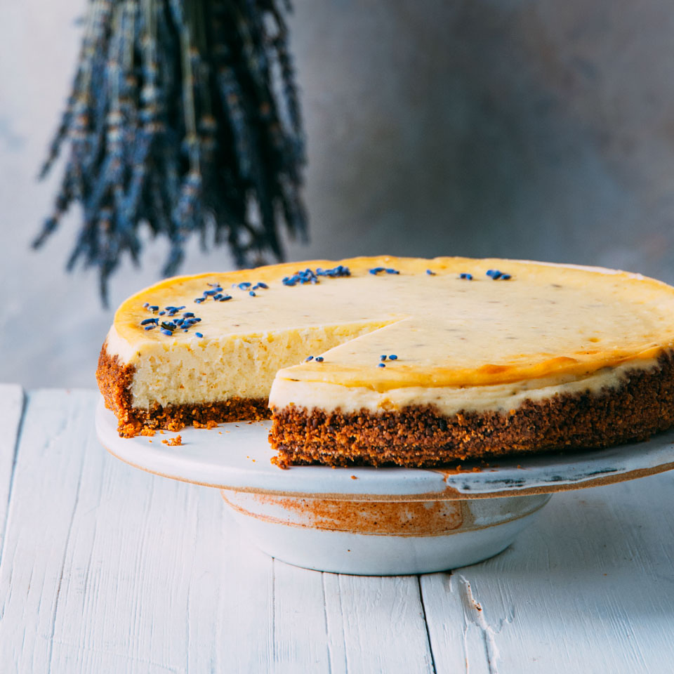 Baking homemade graham crackers with a touch of brown sugar and honey makes this cheesecake recipe an extra-special dessert. Source: EatingWell Magazine, March 2019