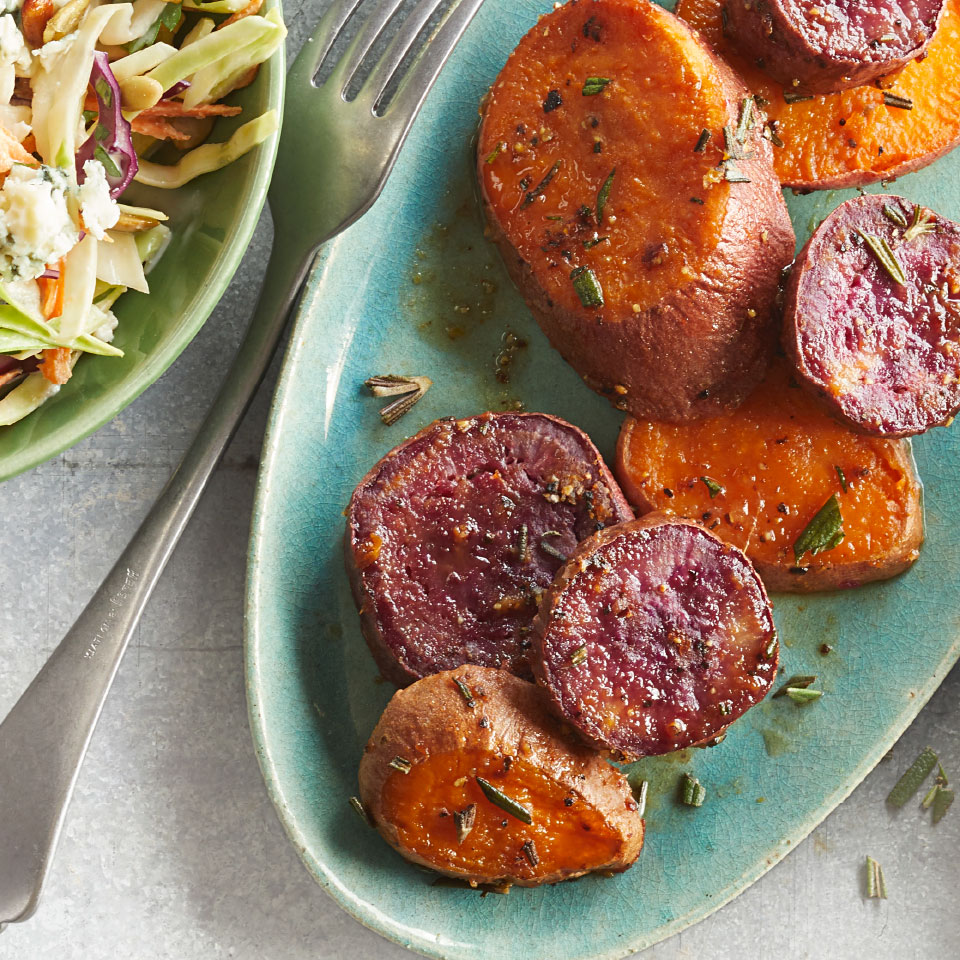 Inspired by melting potatoes, we gave the same treatment to sweet potatoes. The results? Roasted potatoes that are creamy on the inside but perfectly crisp on the outside. Adding miso to the butter mixture adds great umami flavor and helps the potatoes caramelize while baking. Don't skip lining the baking sheet or the miso-butter might burn on the pan and cause the sweet potatoes to stick. Source: EatingWell Magazine, March 2019