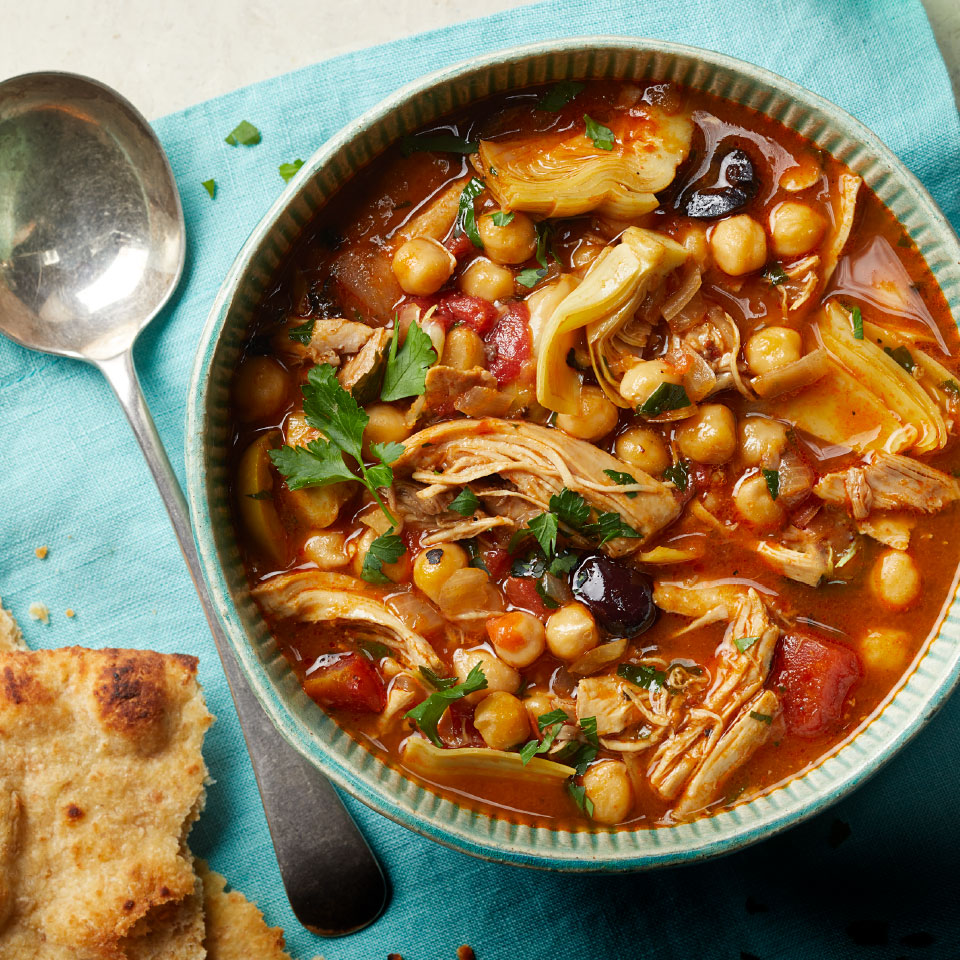 This set-it-and-forget-it slow-cooker recipe simmers away all day so you come home to a warm and healthy dinner the whole family will love. Using bone-in chicken is the key to making rich soup without adding broth. Source: EatingWell Magazine, March 2019