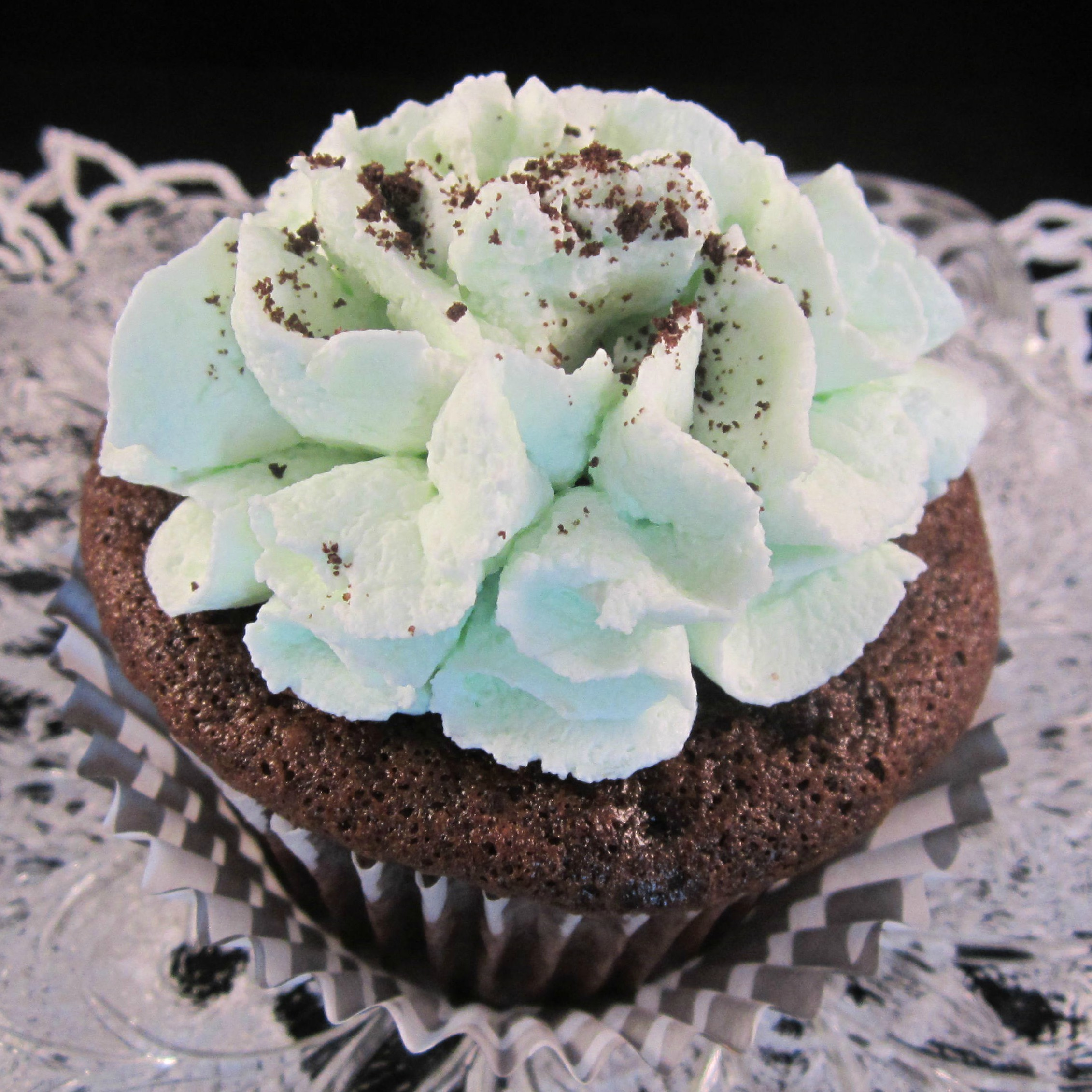 Mint Devil's Food Cupcakes