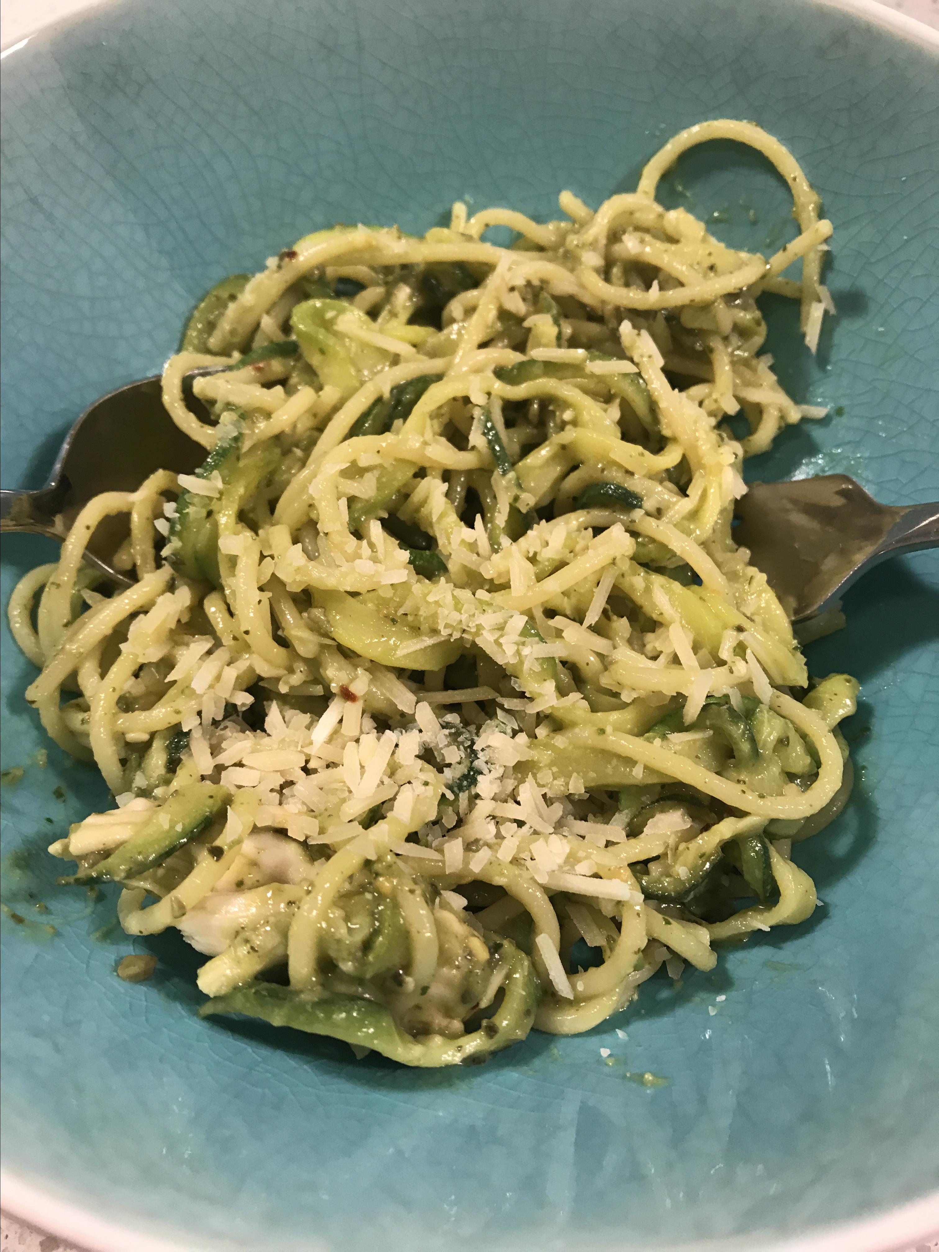 Avocado Pesto with Zucchini Pasta