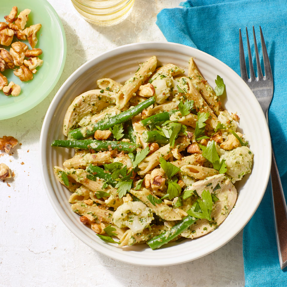 Chicken & Vegetable Penne with Parsley-Walnut Pesto Patsy Jamieson