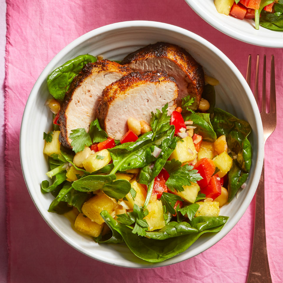 Spiced Pork Tenderloin with Spinach & Macadamia Nut Salad Lauren Grant