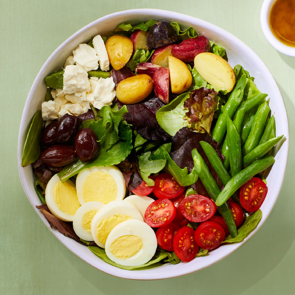 This vegetarian take on a traditional Niçoise salad omits the fish and piles on plenty of vegetables. Source: Diabetic Living Magazine, Spring 2019