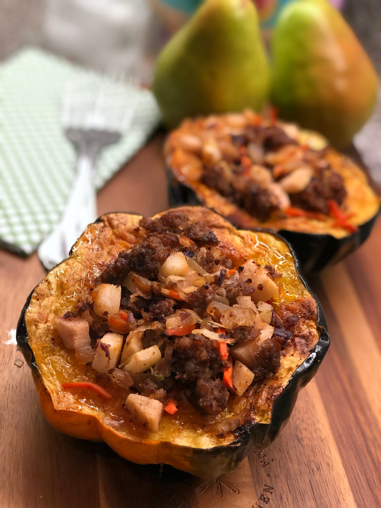 Sausage-and-Pear-Stuffed Acorn Squash