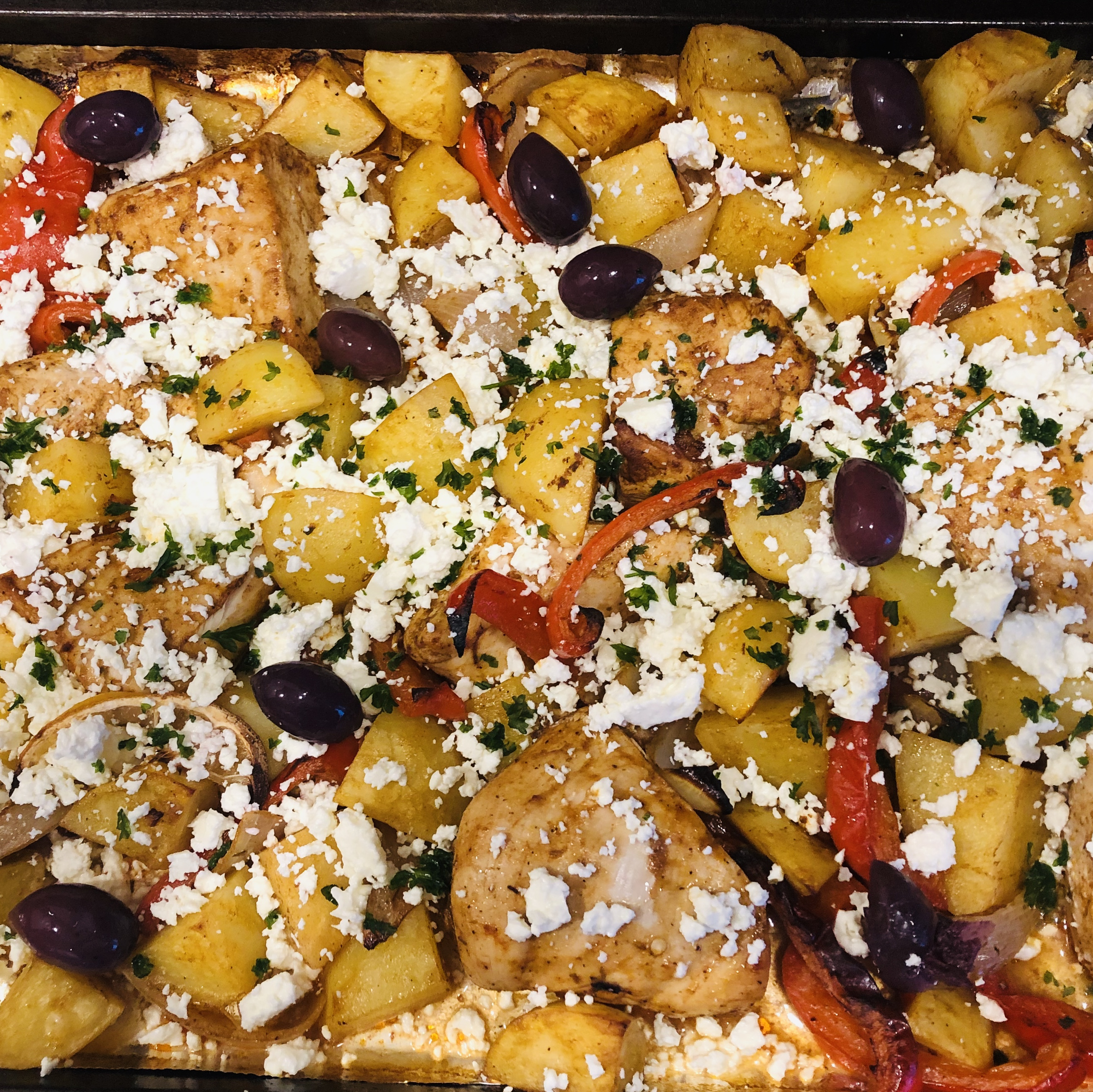 """Bold flavors and colors combine on one sheet pan for a simple yet impressive dinner,"" says Soup Loving Nicole. ""Bonus is the minimal cleanup! If you are not a fan of olives, try substituting capers or chopped artichoke hearts."""