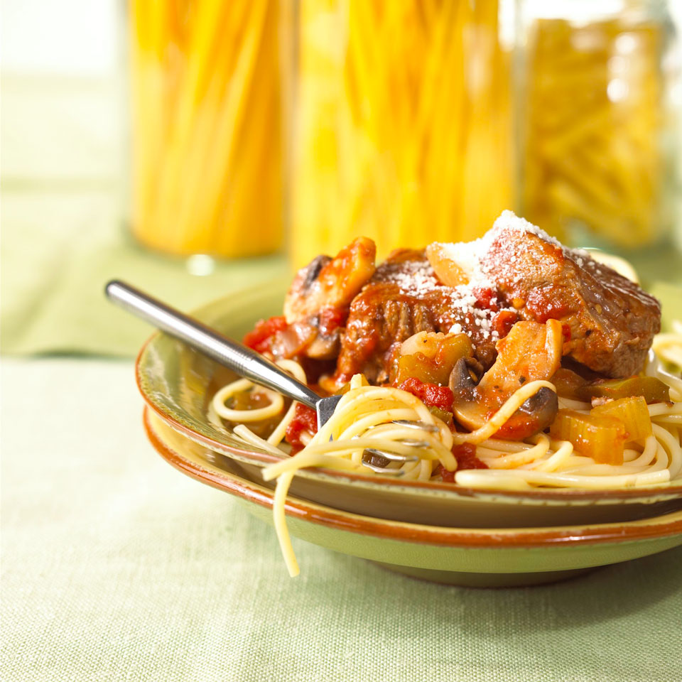 This Italian-inspired beef, vegetable, and pasta dinner takes just 20 minutes to prep. Grab a glass of your favorite wine, sit back, relax, and enjoy the fragrant aromas that fill your kitchen as this one-skillet meal simmers on your stove. Source: Diabetic Living Magazine