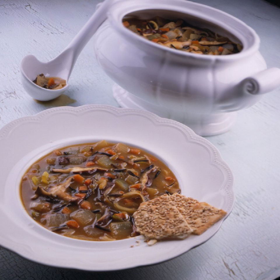 This hearty vegetarian soup recipe combines the natural sweetness of caramelized onions with the nutty flavor of wild rice.