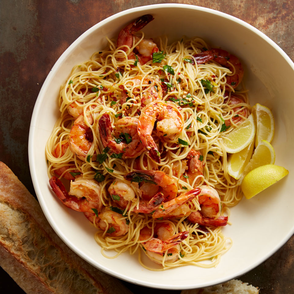 Shrimp scampi is a favorite dish at many Italian restaurants but our version takes just 20 minutes to prepare, so it's perfect for a weeknight dinner at home. Large shrimp are cooked with garlic and then served over linguine pasta with a buttery-wine sauce--it's so good your family may think you ordered takeout! Source: Diabetic Living Magazine