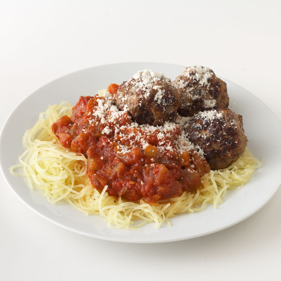 Classic spaghetti and meatballs gets a major makeover in this 1-hour main dish recipe! Instead of regular pasta, we opt for low-calorie, low-carb spaghetti squash, and we switch out the beef meatballs with homemade turkey-apple meatballs, which are lower in saturated fat. It's a healthy meal your whole family will enjoy. Source: Diabetic Living Magazine