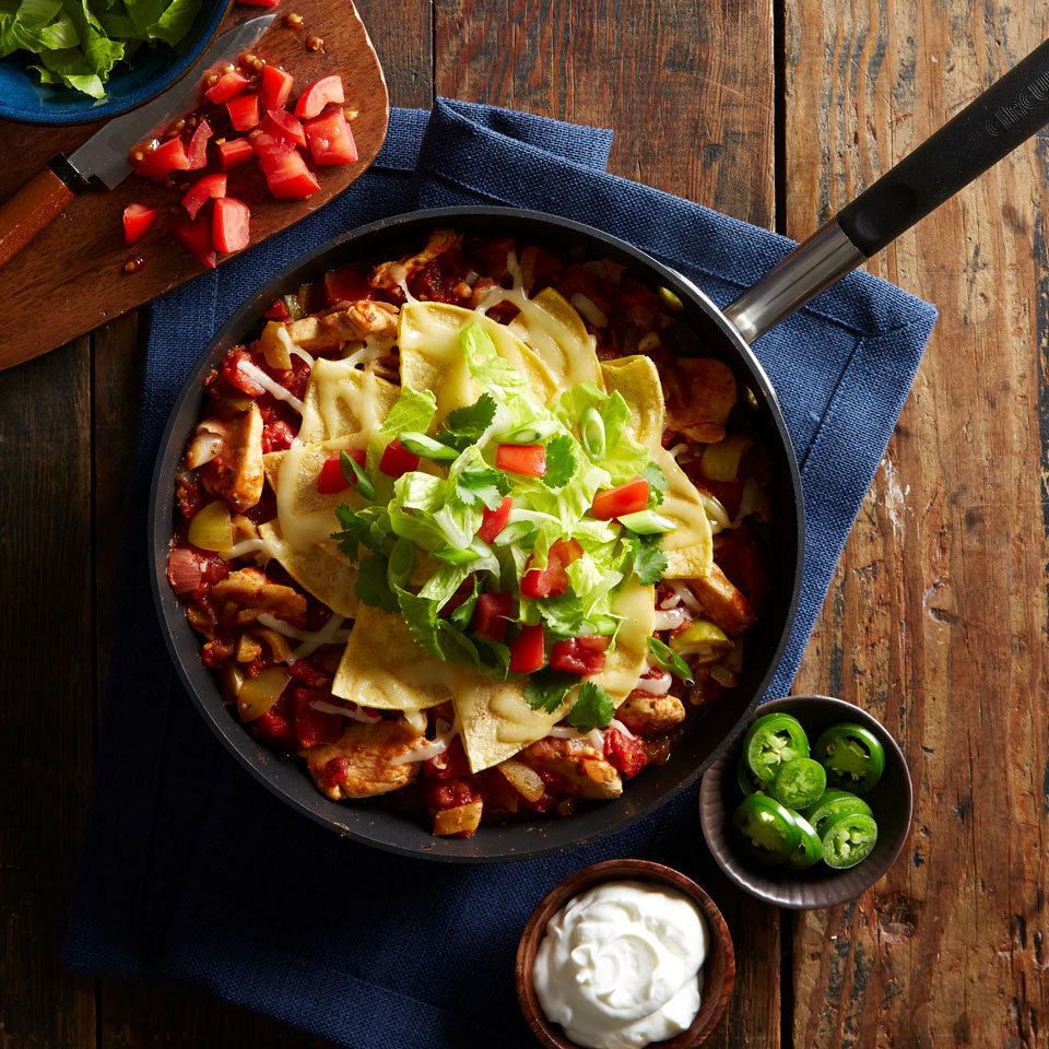 This 45-minute enchilada recipe is bursting with chicken, tomatoes, tomatillos, chile peppers and cheese, and because it's a one-skillet casserole, cleanup is a breeze.