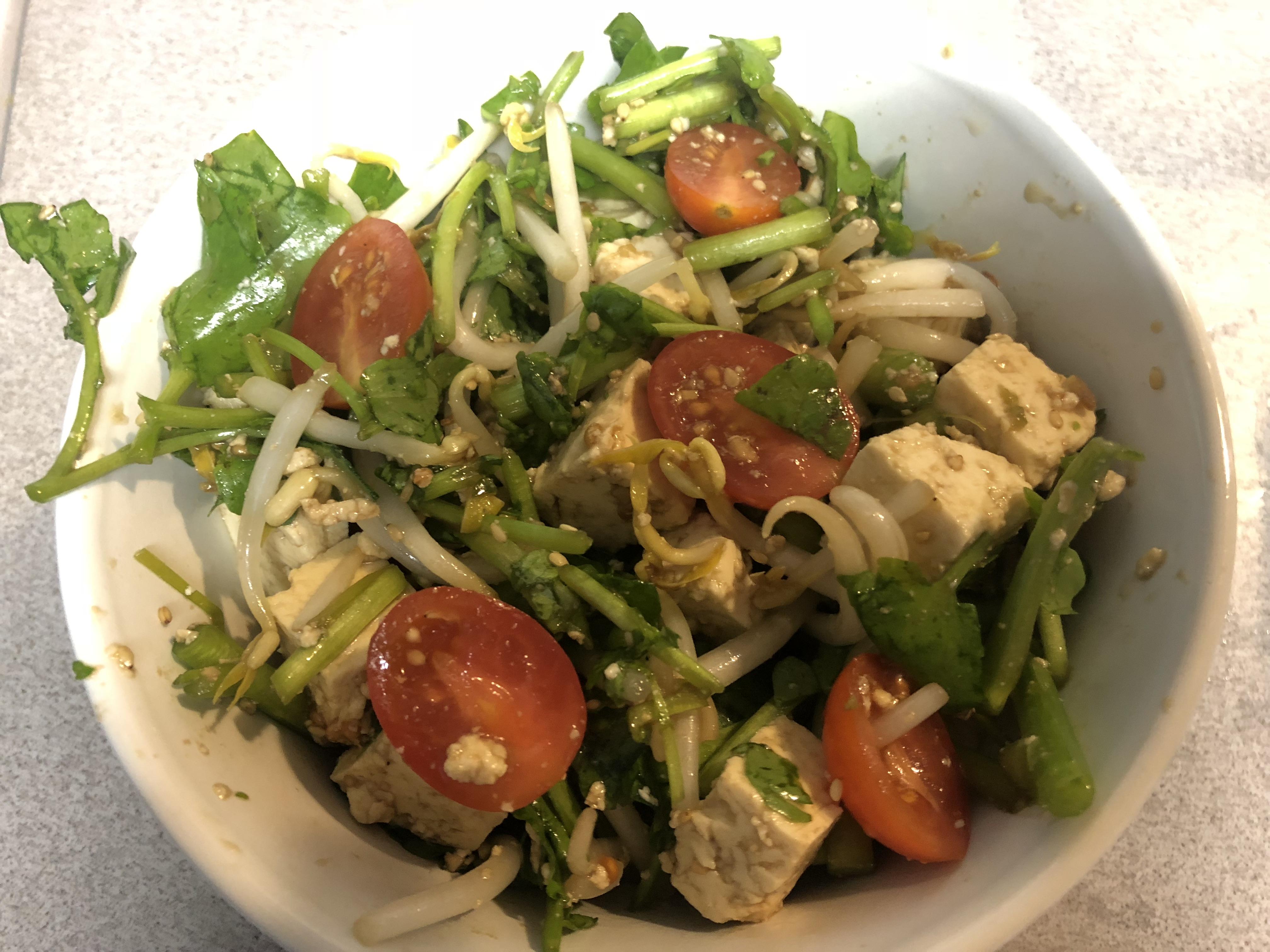 Easy Tofu and Watercress Salad