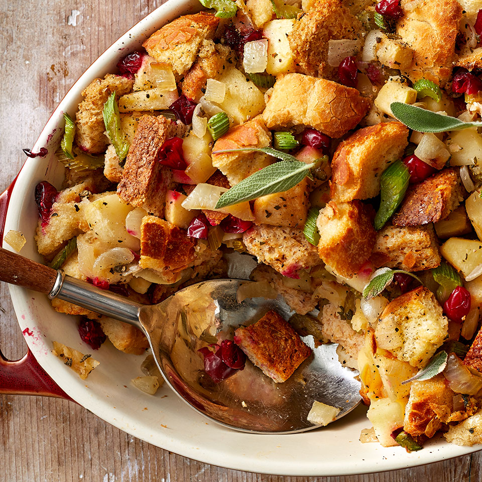 Apples and fresh cranberries add a unique twist to this variation on the classic stuffing. Use fresh sage or rubbed sage in this recipe; the ground version is too bitter.Source: EatingWell Magazine, Holiday Issue 1995