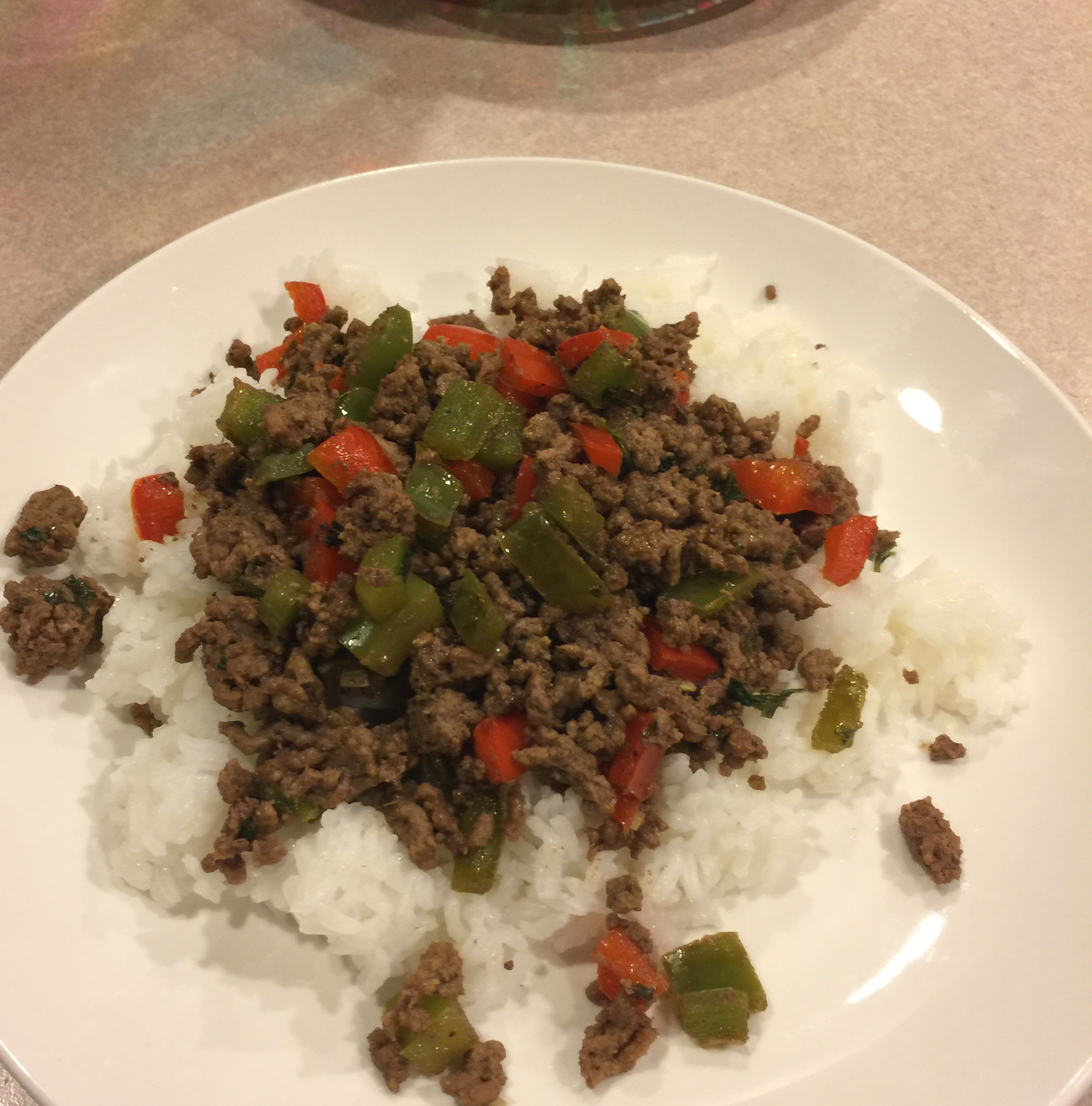 Asian Ground Beef and Pepper Saute Skirts