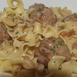 Anna's Amazing Easy Pleasy Meatballs over Buttered Noodles