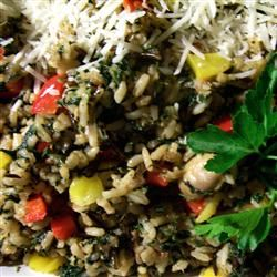 Sunny Pepper Parmesan Rice with Spinach