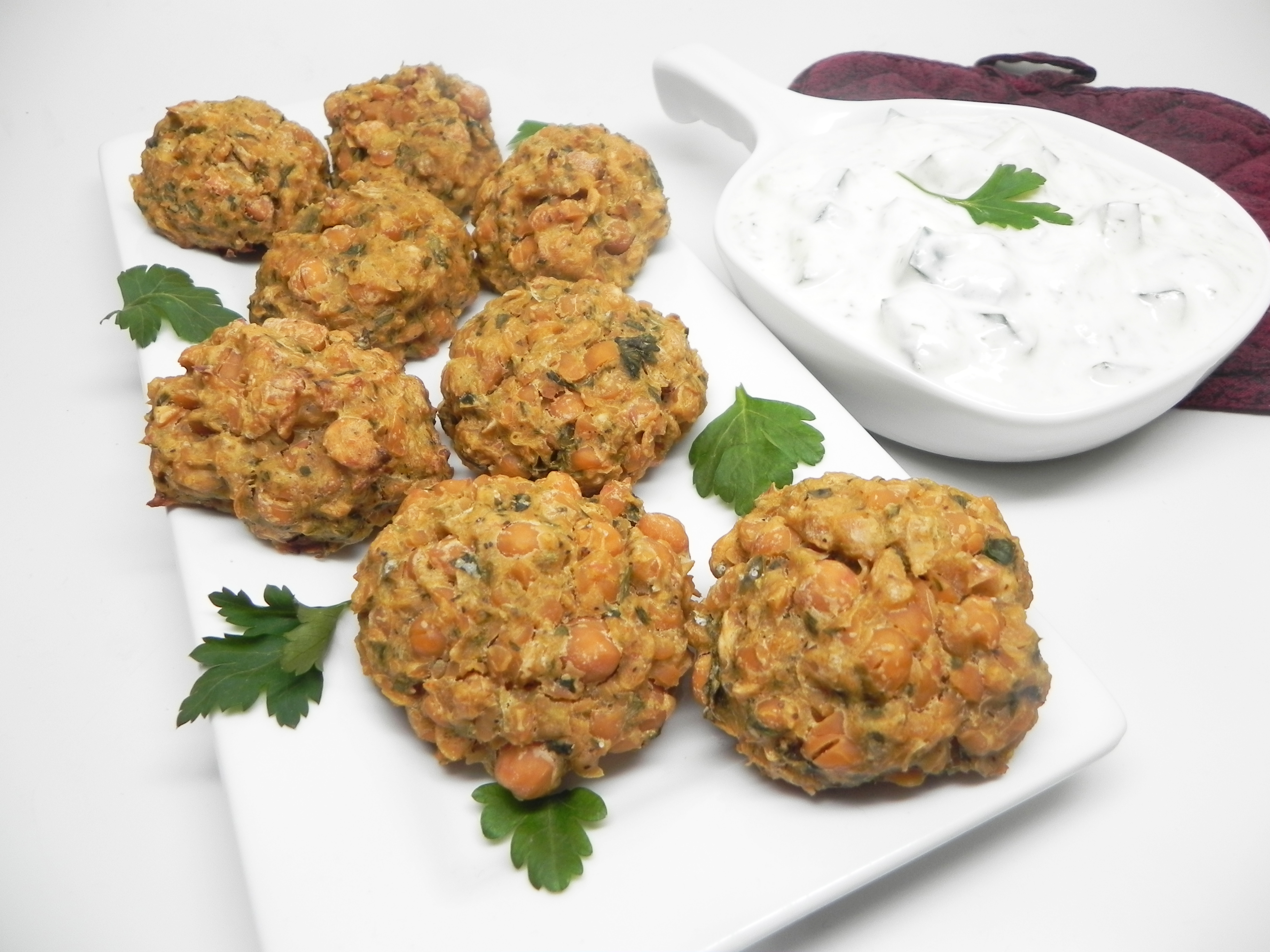 Spicy Baked Falafel with Tzatziki