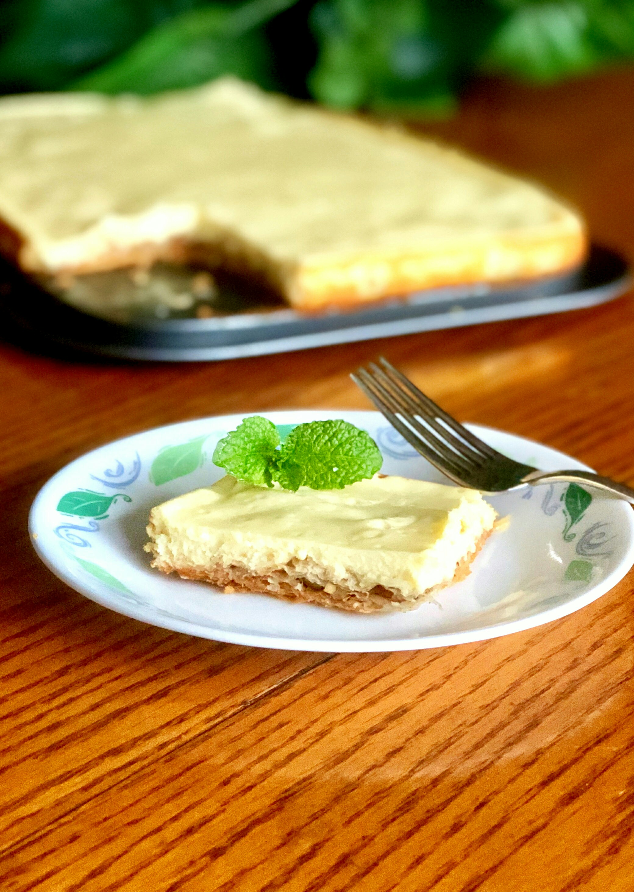 "It's two classic desserts in one! ""A decadent combination of two of my favorite desserts: cheesecake with a baklava crust,"" says Trinity. ""I call it cheeseklava! This is best made a day before serving."""