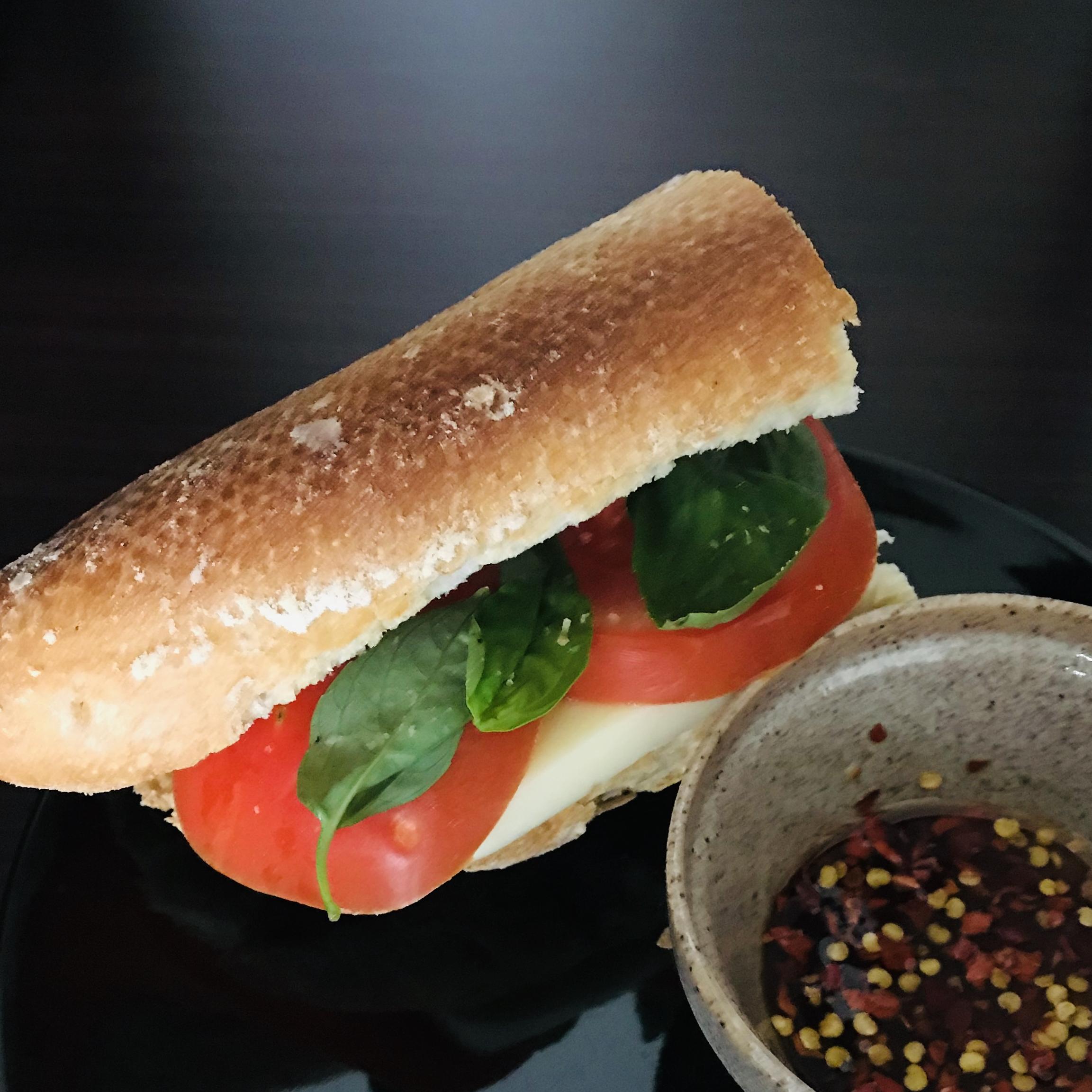 Basil, Tomato and Mozzarella Sandwich