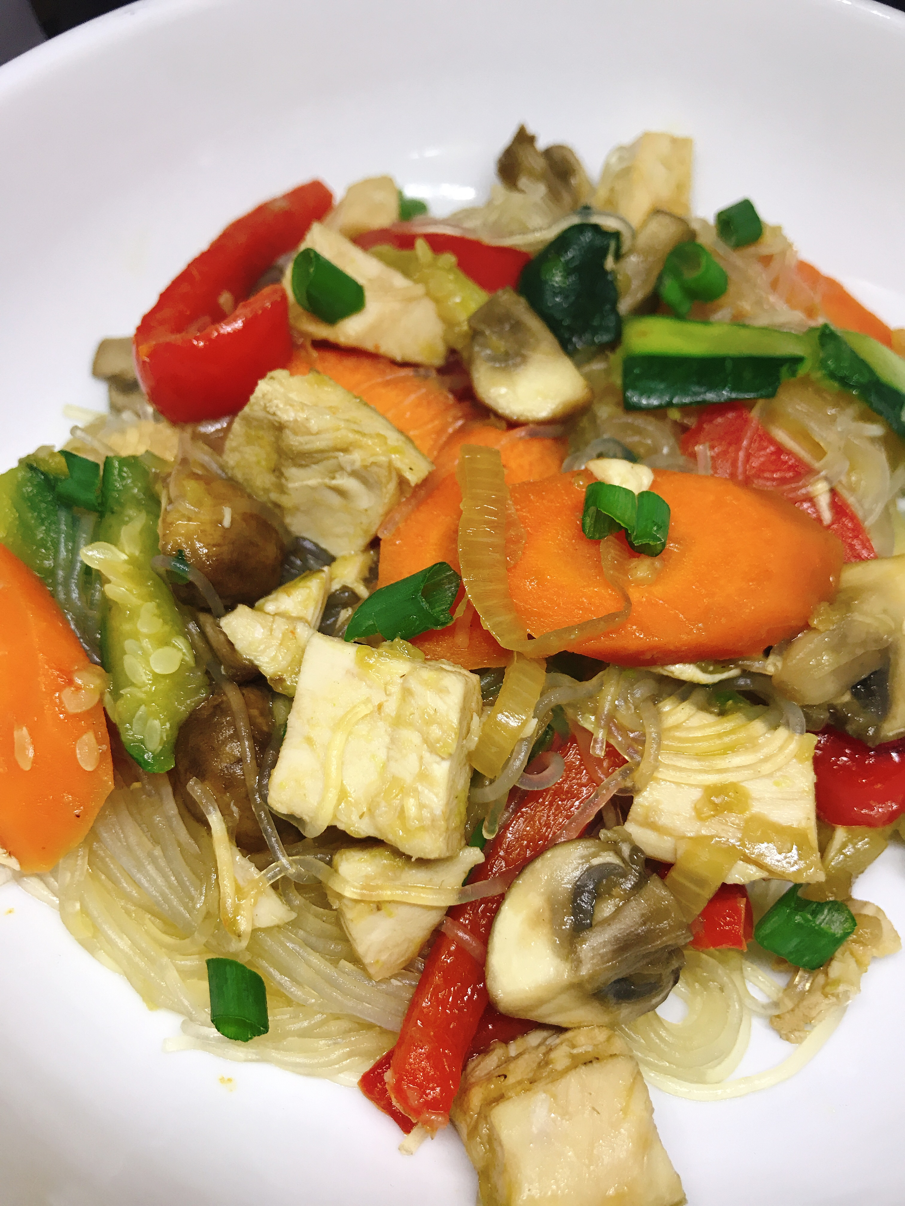 Chicken and Vegetable Glass Noodle Stir-Fry