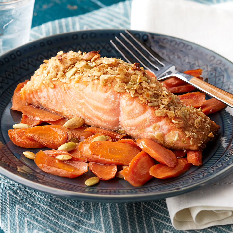 Pumpkin Seed Salmon with Maple-Spice Carrots Diabetic Living Magazine