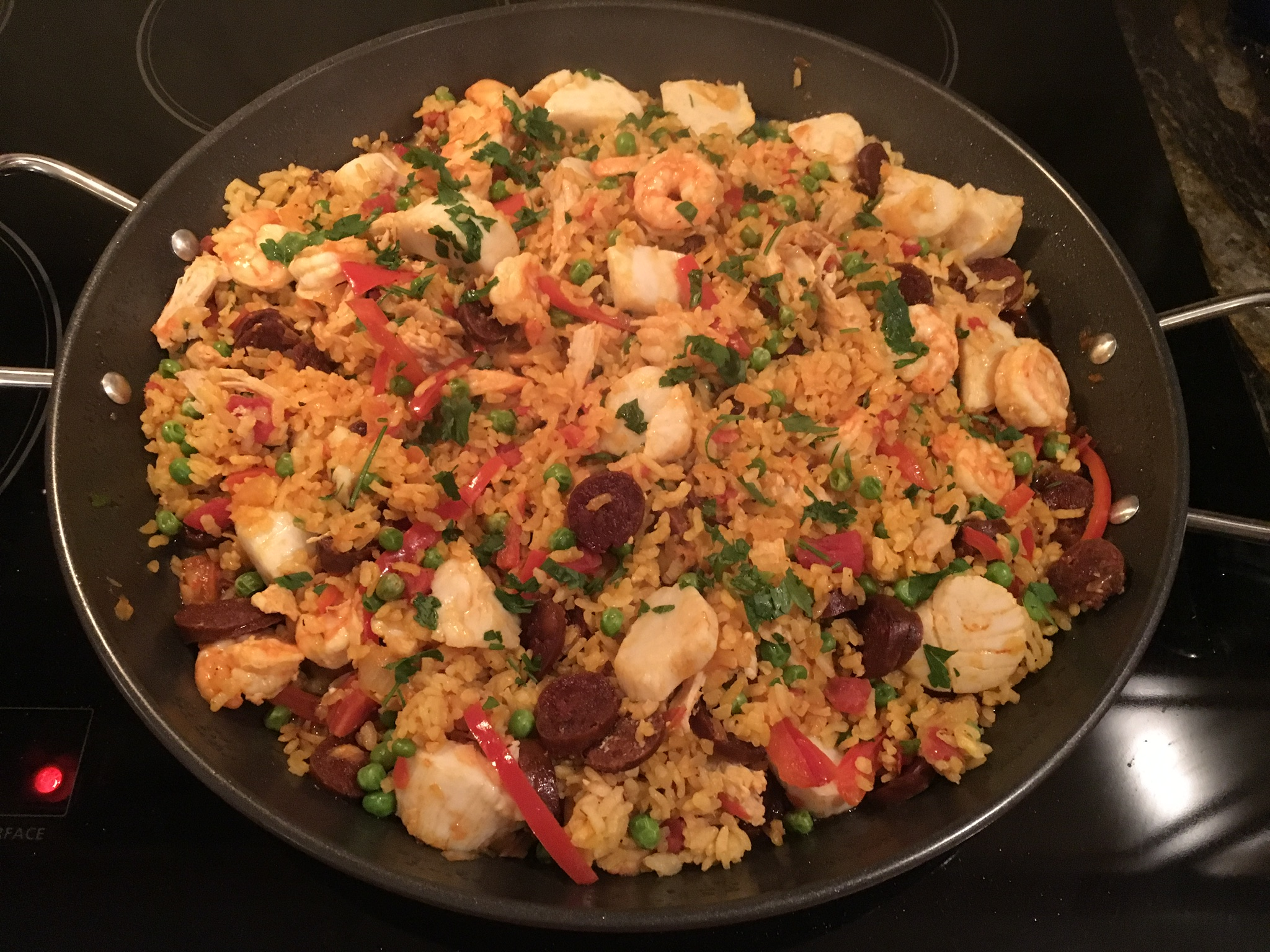 Seafood, Chicken, and Chorizo Paella rcole