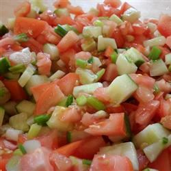 Tomato, Cucumber and Red Onion Salad with Mint