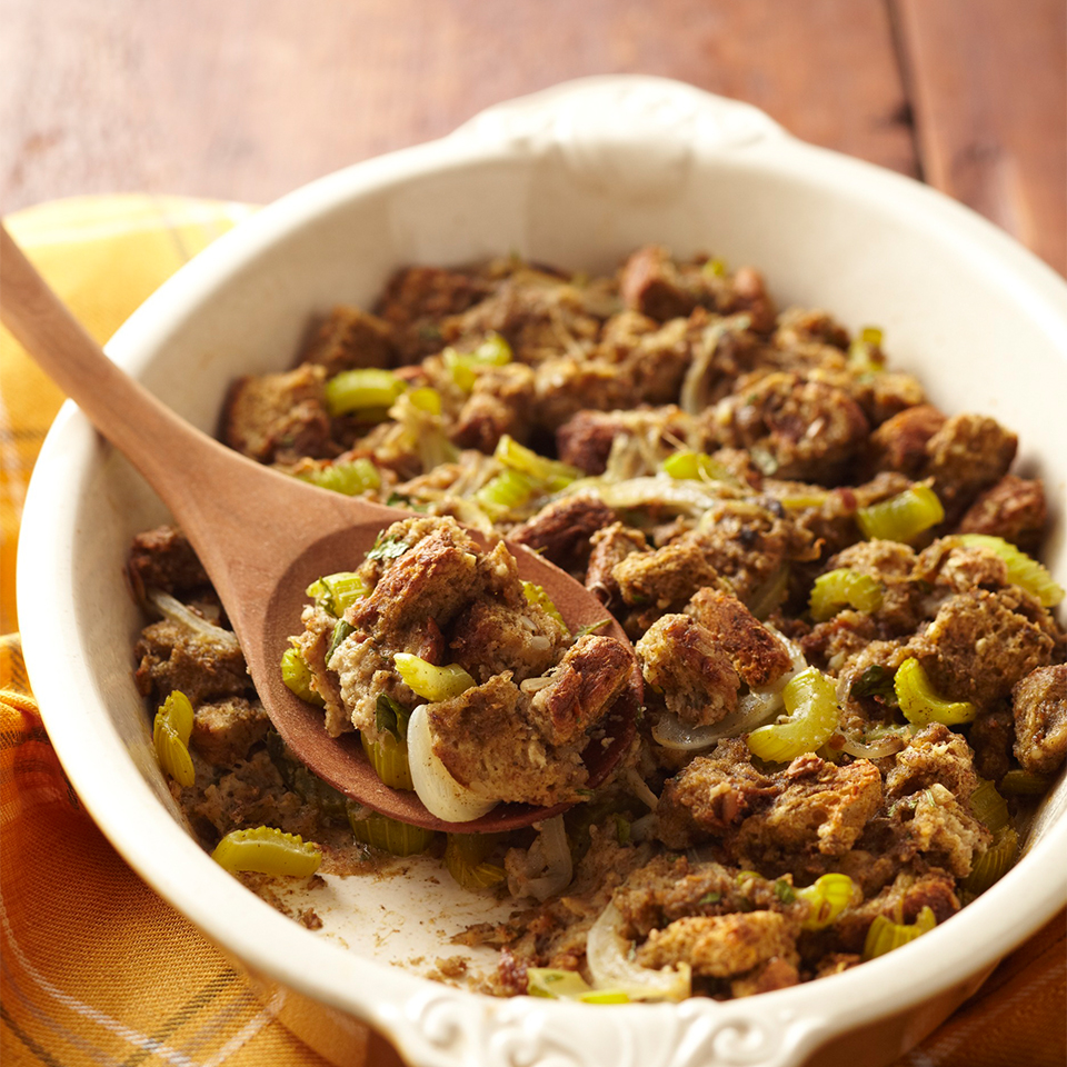 Homemade stuffing tastes so much better than any mix you can buy at the grocery store, and this recipe is quick and easy. It takes just 25 minutes to prepare and goes well with grilled or roasted beef, pork, chicken, and fish.